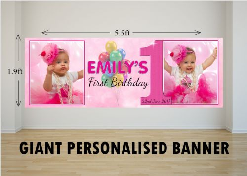 Personalised GIANT Large Girls Balloons Happy Birthday PHOTO Poster Banner N32 ANY AGE
